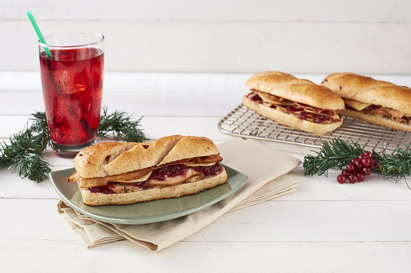 Roasted Turkey and Chicken with Bacon on Cranberry Bread